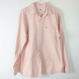 Lacoste Mens Pink Button Down Dress Shirt Sz 42 R
